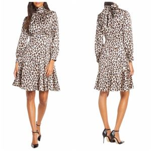 Women's Eliza J Leopard Print Long Sleeve Dress